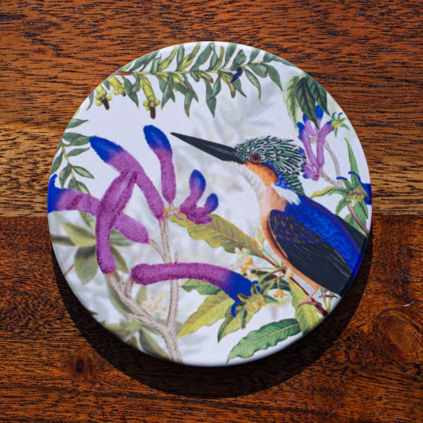 Coaster - Kingfisher on Kangaroo Paw - Australian Native - Beths Emporium