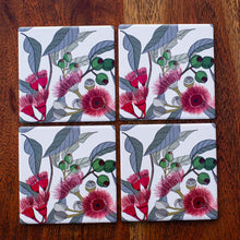 Load image into Gallery viewer, Set of Coasters - Red Flowering Gum & Gumnuts - Australian Native - Beths Emporium