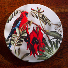 Load image into Gallery viewer, Coaster - Crimson Rosella on Sturts Dessert Pea - Australian Native - Beths Emporium