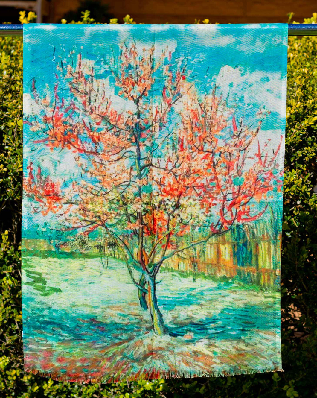 Cotton Impressionist Art Scarf - van Gogh : The Pink Peach Tree