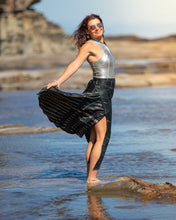 Load image into Gallery viewer, Sleek Sari Silk Wrap Skirt - Midnight Moonshine - Avoca Collection