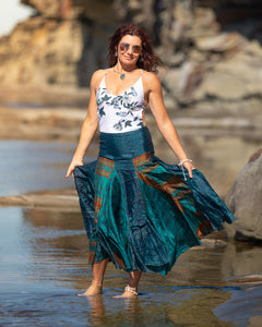 Flowing Indian Silk Skirt - Deep Sea Diving - Avoca Collection