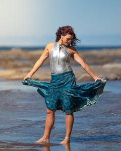 Sari Silk Boho Wrap Skirt - Brocade with Gold Thread - Avoca Collection