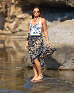 Sari Silk Boho Wrap Skirt - Azure Sea - Avoca Collection