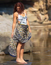 Load image into Gallery viewer, Sari Silk Boho Wrap Skirt - Azure Sea - Avoca Collection