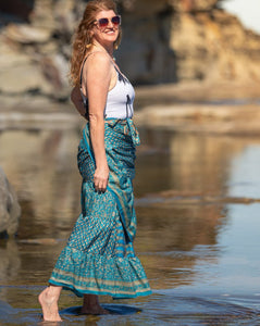 Sari Silk Boho Wrap Skirt - Sun Dappled Sea - Avoca Collection