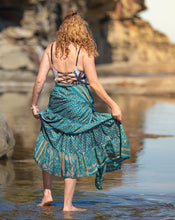 Load image into Gallery viewer, Sari Silk Boho Wrap Skirt - Sun Dappled Sea - Avoca Collection