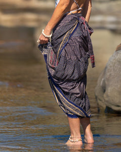 Sari Silk Boho Wrap Skirt - Dusky Delight - Avoca Collection