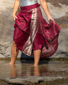 Sleek Sari Silk Wrap Skirt - - Avoca Collection