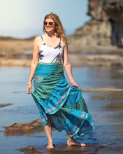Load image into Gallery viewer, Sari Silk Boho Wrap Skirt - Sea/Tree Change- Avoca Collection