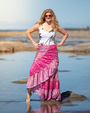 Load image into Gallery viewer, Sari Silk Boho Wrap Skirt - Coral Garden - Avoca Collection