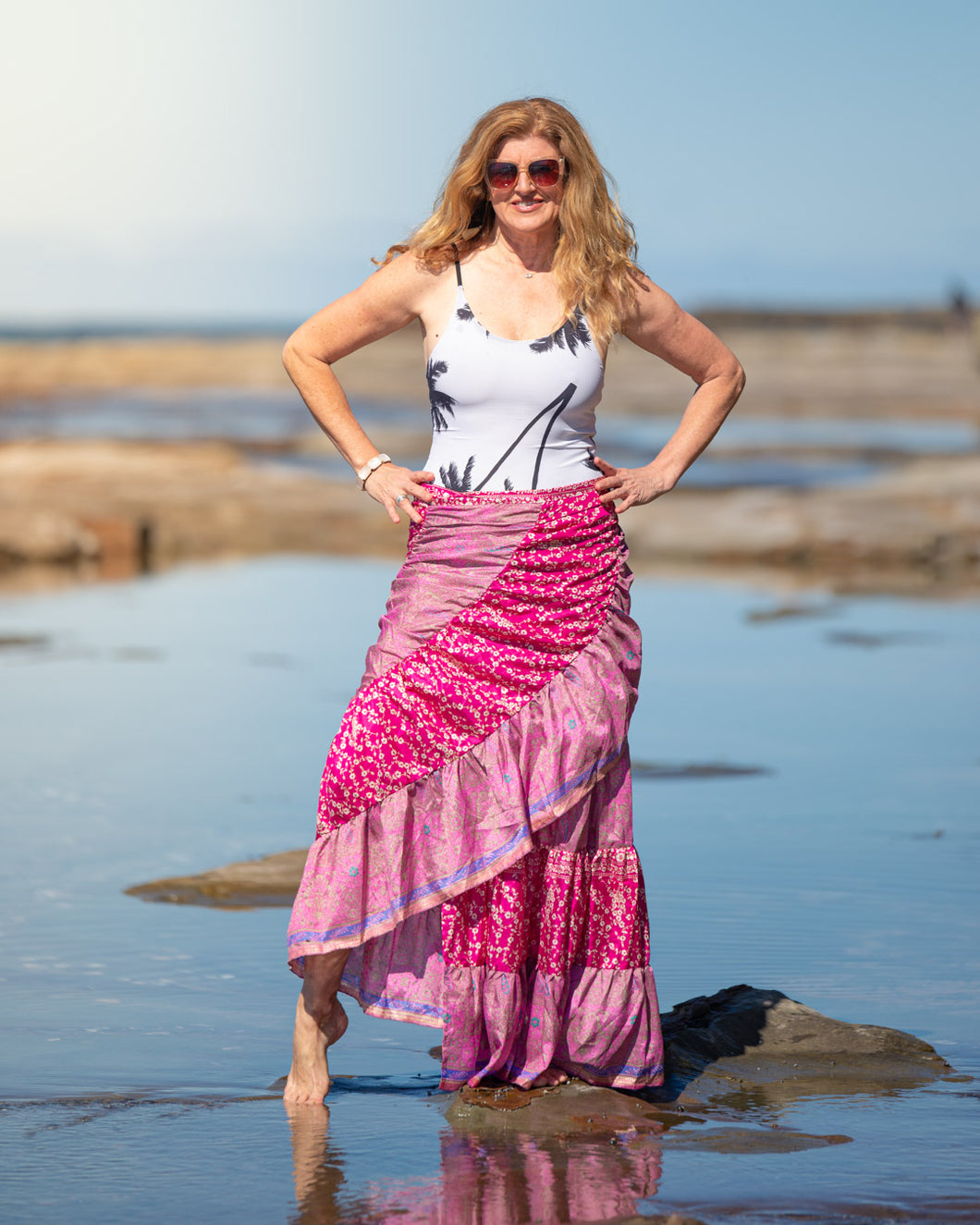 Sari Silk Boho Wrap Skirt - Coral Garden - Avoca Collection