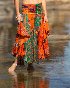 Flowing Indian Silk Skirt - Sunrise, Sunset - Avoca Collection