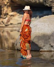 Load image into Gallery viewer, Sari Silk Boho Wrap Skirt - Sun Rising Over the Sea - Avoca Collection