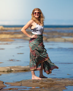 Sari Silk Boho Wrap Skirt - Natural Pallete - Avoca Collection