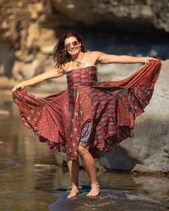 Flowing Indian Silk Skirt - Earth Princess - Avoca Collection