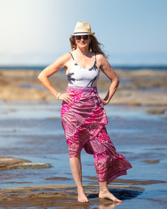 Sari Silk Boho Wrap Skirt - Flaming Fuschia - Avoca Collection