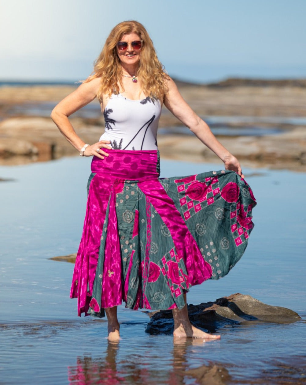 Flowing Indian Silk Skirt - Day & Night! - Avoca Collection