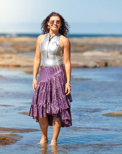 Sari Silk Boho Wrap Skirt - Evening Dusk - Avoca Collection