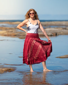 Indian Silk Brocade Skirt - Royalty Red - Avoca Collection