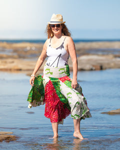 Flowing Indian Silk Skirt - Festive Fun! - Avoca Collection