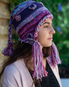 Hand Knitted Boho Beanie with Tassels in different colours - Beths Emporium