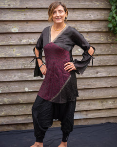 Black & Red Silk Boho Shirt/Dress - Beths Emporium