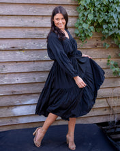 Load image into Gallery viewer, Silky Peasant Dress - Long Sleeved Midnight Black - Beths Emporium