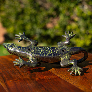 Large Brass Antique Lizard Door Handle Pull - Verdigris Finish - Beths Emporium