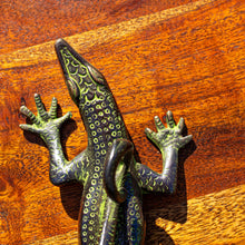Load image into Gallery viewer, Large Brass Antique Lizard Door Handle Pull - Verdigris Finish - Beths Emporium