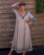 Load image into Gallery viewer, Full Length Embroidered Blue Boho Dress - Beths Emporium
