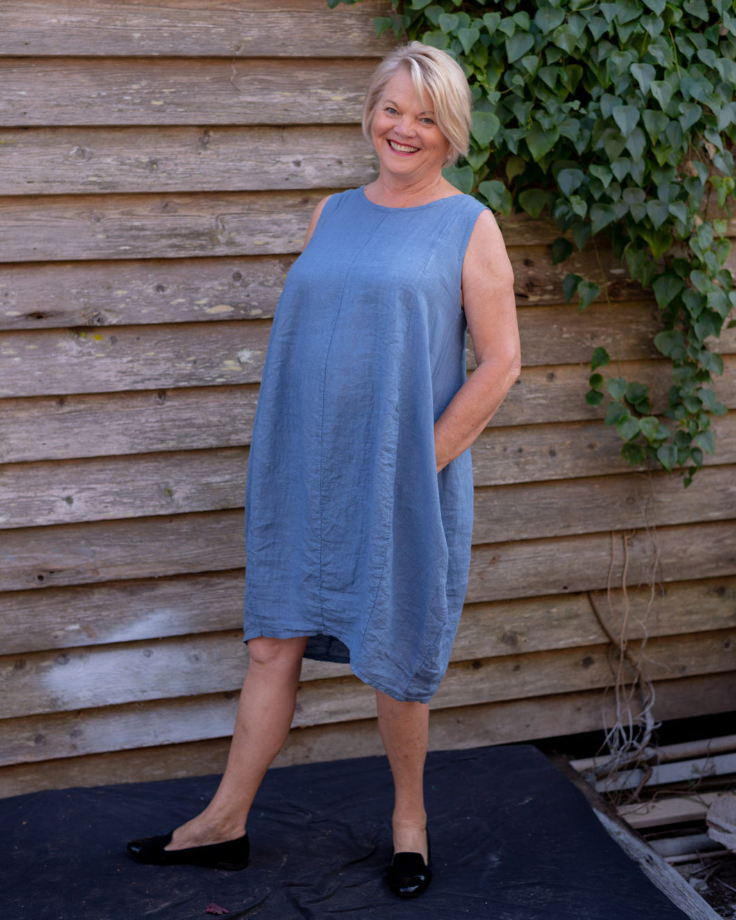 Blue Linen Dress - Beths Emporium