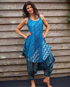 Blue Silk Boho Singlet Dress/Shirt - Beths Emporium