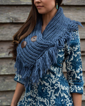 Load image into Gallery viewer, Chunky Knit Misty Blue Neck Shrug Scarf - Beths Emporium