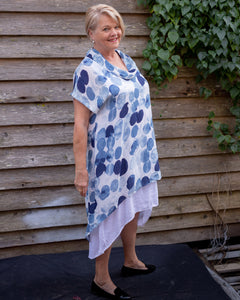 Impressionist Blue Waterfall Dress - Beths Emporium