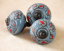 Load image into Gallery viewer, Hand Painted Antique Ceramic Door Drawer Knob - Smokey Garland - Beths Emporium