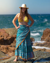 Load image into Gallery viewer, Sari Silk Boho Wrap Skirt - Surf, Sun & Sand  - Avoca Collection