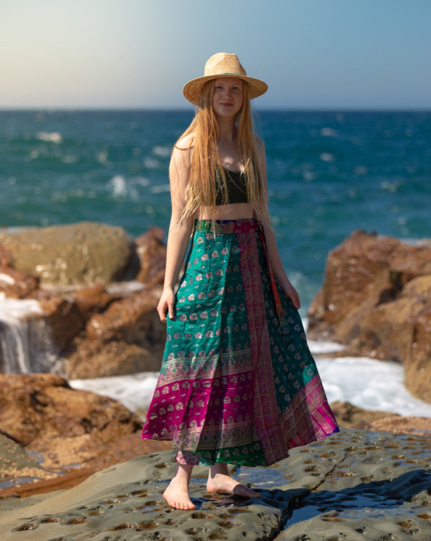 Sleek Sari Silk Wrap Skirt - Happiness Is - Avoca Collection