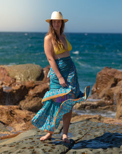 Sari Silk Boho Wrap Skirt - Surf, Sun & Sand  - Avoca Collection