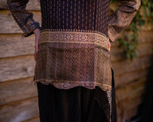 Load image into Gallery viewer, Black & Gold Embroidered Silk Boho Shirt - Beths Emporium