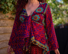 Load image into Gallery viewer, Red & Blue Silky Tie Boho Top - Beths Emporium