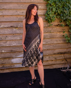 Black & Silver Boho Singlet Dress/Shirt - Beths Emporium