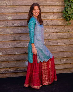 Aqua Silk Boho Shirt/Dress - Beths Emporium