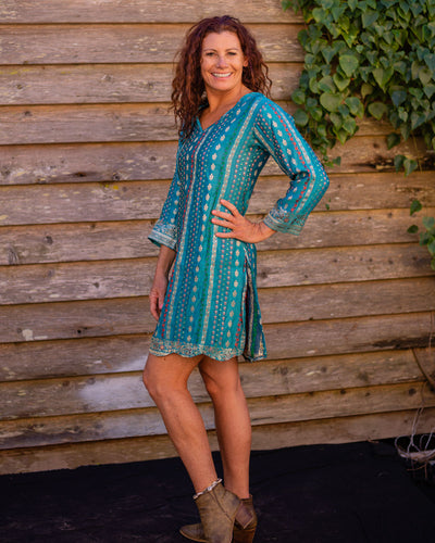 Teal Silk Boho Shirt/Dress - Beths Emporium