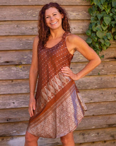Choclate & Silver Boho Singlet Dress/Shirt - Beths Emporium