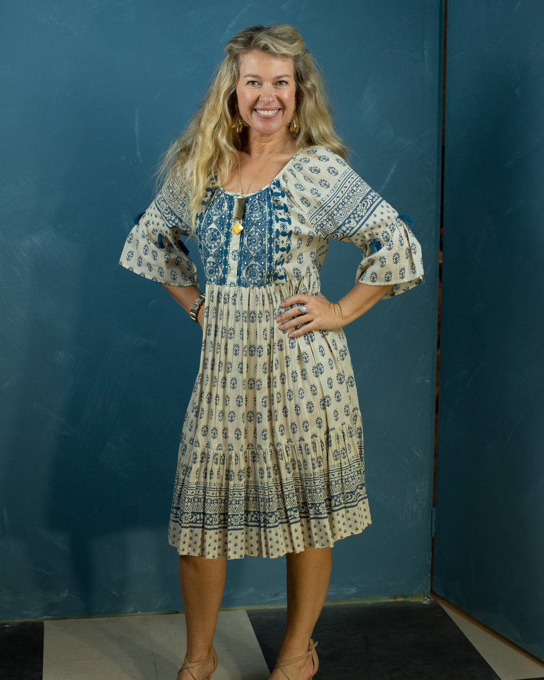 Blue Embroidered Boho Dress - button front - Beths Emporium
