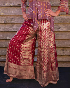 Cherry & Gold Silk Boho Flares - Beths Emporium