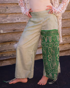 Patchwork green Silky Boho Gypsy Pants - Beths Emporium