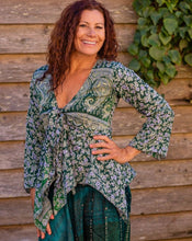 Load image into Gallery viewer, Pine Silky Tie Boho Top - Beths Emporium