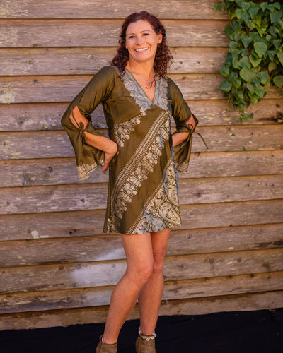 Olive Silk Boho Shirt/Dress - Beths Emporium